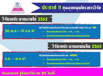 ประกาศ !! ทุนอุดหนุนโครงการวิจัยงบประมาณรายได้ 2562 และ งบประมาณแผ่นดิน 2563