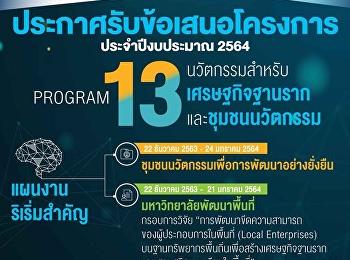 งานวิจัยและนวัตกรรมเพื่อพัฒนาพื้นที่ บพท. Program 13 นวัตกรรมสำหรับเศรษฐกิจฐานรากและชุมชนนวัตกรรม